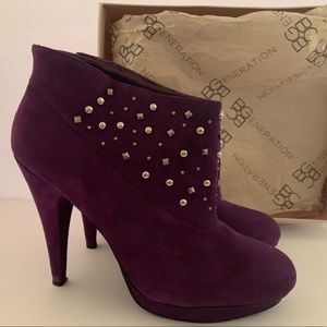 BCBG Model Purple Suede Studded Ankle Boots